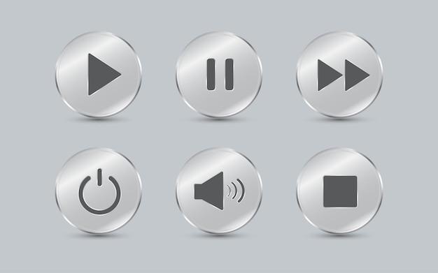 재생 버튼 미디어 플레이어 제어 아이콘 세트 유리 접시 원형 모양