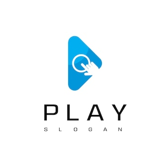 Play button for media player logo with cursor hand symbol