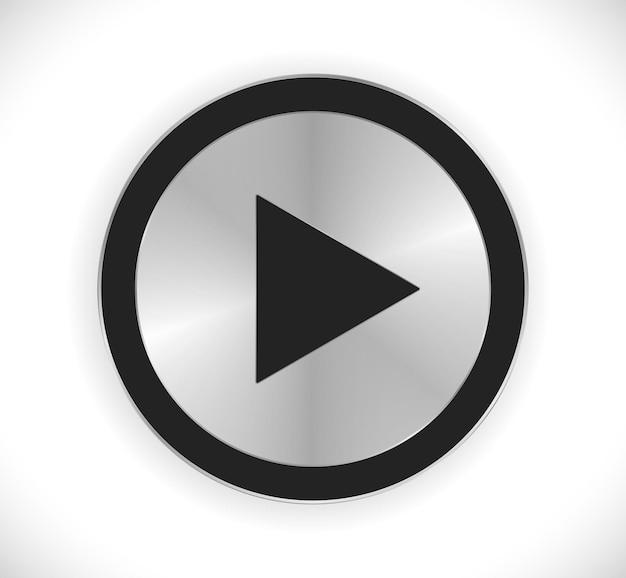 再生ボタンの金属デザイン