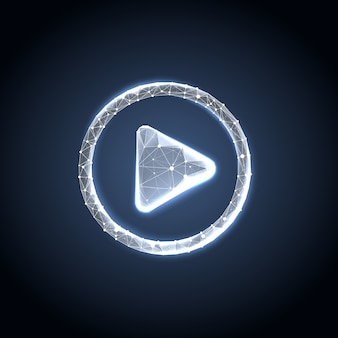 Play button in polygonal wireframe style