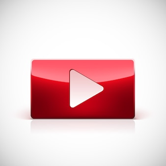Play button, red glossy button with white triangle turned right