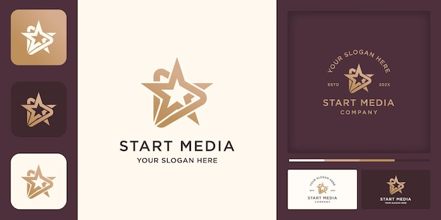 Play button and star combination logo
