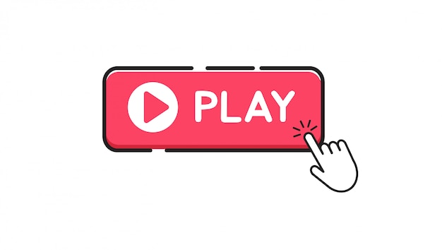 Play button on white background