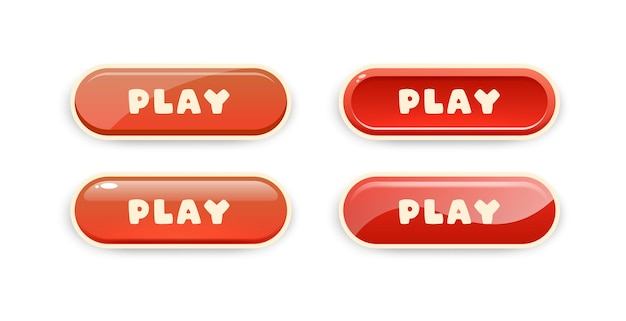 Play buttons for mobile games ui design