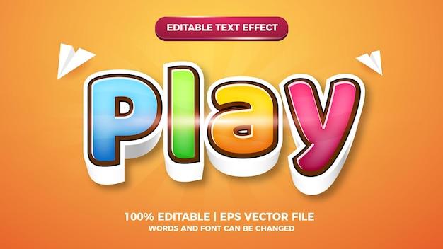Play cartoon comic 3d editable text style effect template