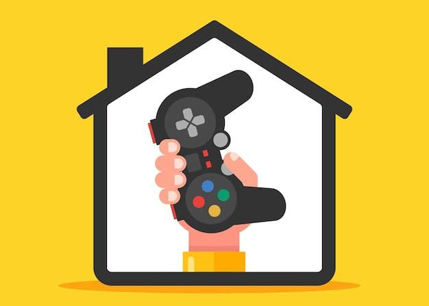 집에서 컴퓨터 게임을 합니다. 손은 조이스틱을 보유하고 있습니다. 평면 벡터 일러스트 레이 션.