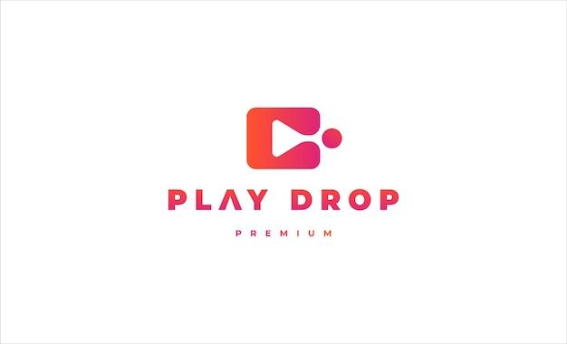 Play drop media logo vector design illustration