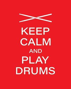 드럼 벡터 배너 템플릿을 재생합니다. 침착함을 유지하고 빨간색 배경에 나지만으로 드럼 텍스트를 재생합니다. 벡터 일러스트 레이 션 eps 10