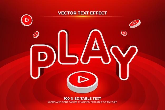 빨간색 버튼 배경 스타일로 편집 가능한 3d 텍스트 효과 재생