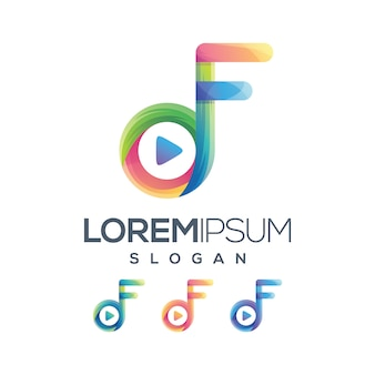 Play f логотип градиентная коллекция