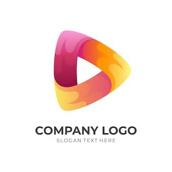 火のロゴを再生、ボタンと火を再生、3dカラフルなスタイルの組み合わせロゴ