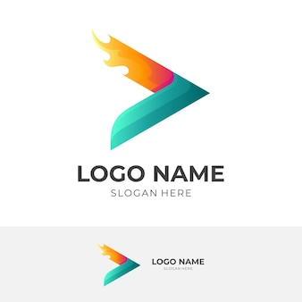 Play fire logo, play and fire, combination logo with 3d green and orange color style