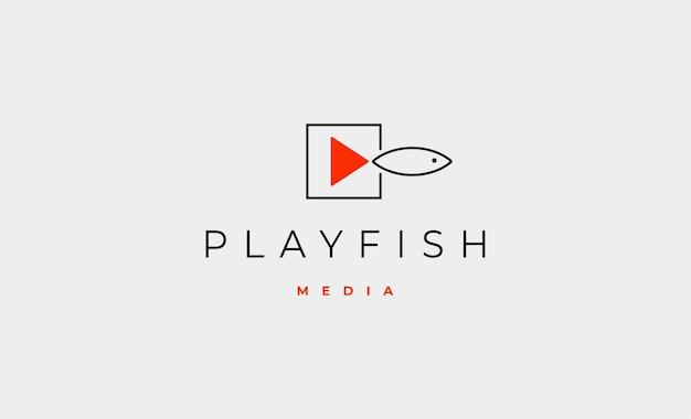 Play fish media logo design vector illustration