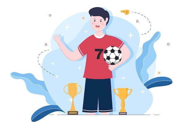 Играйте в футбол с футболистами команды, празднуйте победу в матчах и получайте золотые трофеи. векторные иллюстрации