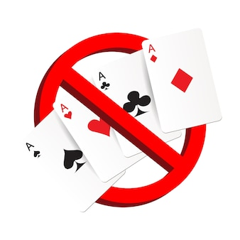 Do not play gamble suit card prohibition sign