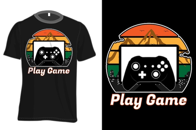 Play game mock up t-shirt retro vintage style