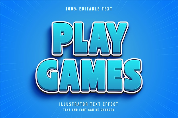 게임 플레이, 3d 편집 가능한 텍스트 효과 블루 그라데이션 만화 스타일