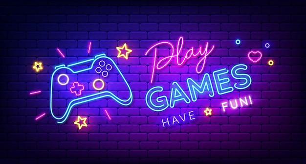 Играйте в игры, веселитесь, неоновая вывеска с игровой площадкой, яркая вывеска, свет, баннер, игровой логотип, неоновая эмблема, векторная иллюстрация