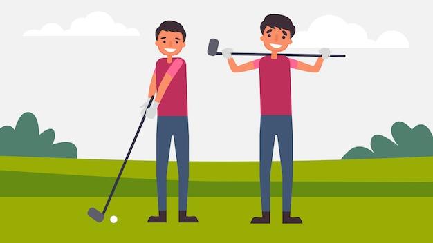 Сыграйте в гольф отцы сын мероприятия perfect family bonding проводят время вместе. дети важны для их роста и развития, а также для человека. иллюстрация в плоском мультяшном стиле.