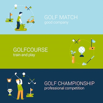 Play golf sport club course professional championship and competition concept flat design   illustrations set.