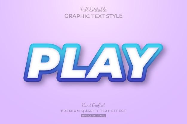 Play gradient blue premium text effect editable