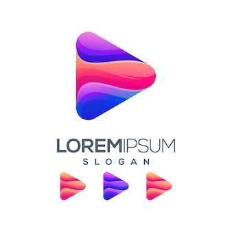 Play gradient color logo design