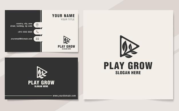 Шаблон логотипа play grow в стиле монограммы