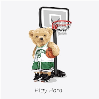 クマの人形のストリートボールプレーヤーとバスケットボールのフープのベクトル図でハードスローガンを再生します。
