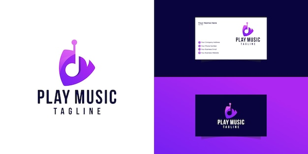 Play icon video and music application button design. creative template logo and business card