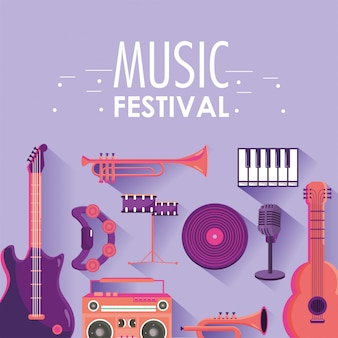 Play instruments to music festival event