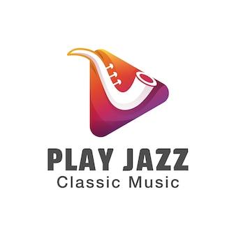 ジャズ音楽のロゴを再生します。グラデーションミュージックのクラシックなロゴデザイン。