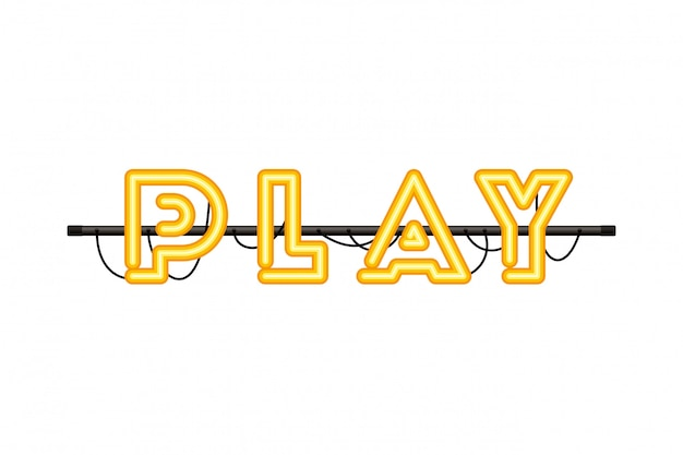 Play label in neon light icon
