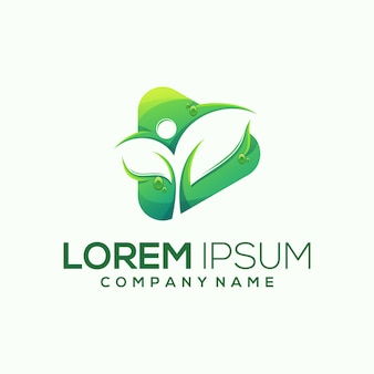 Play leaf logo  illustration