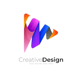 Play and letter m logo design combination