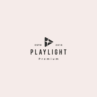 Play light flare blitz bright logo vector icon illustration