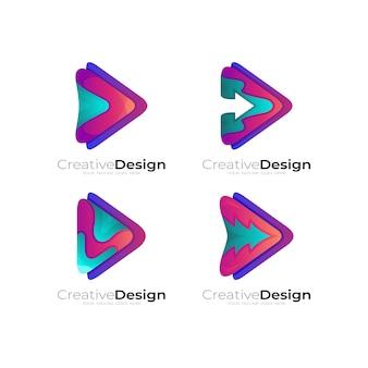 ロゴと矢印のデザインの組み合わせ、カラフルなスタイルを再生します