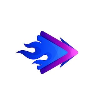 플레이 로고와 불 디자인 조합, 심플한 아이콘