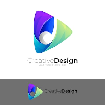ロゴとメロディーデザインの組み合わせを再生、3dカラフル