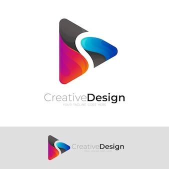 ロゴとシンプルなデザインのベクトル画像を再生します