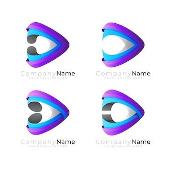 Играть логотип и технология дизайна красочный, 3d стиль, установить значок