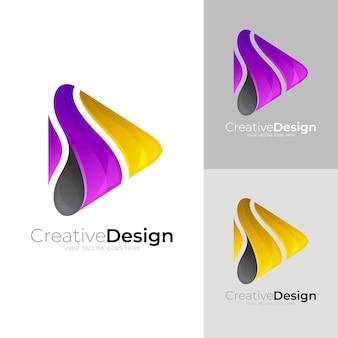 ロゴとテクノロジーデザインの組み合わせ、カラフルなロゴを再生します