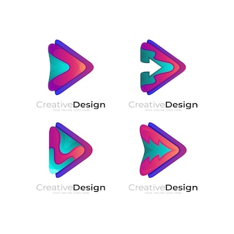 Play logo and arrow design combination, colorful style
