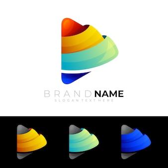Играть логотип красочный значок шаблона