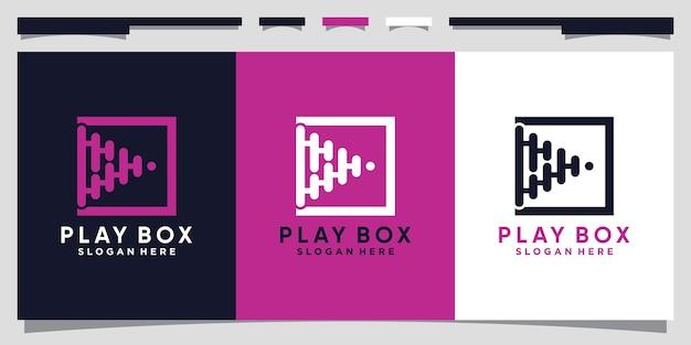 Дизайн логотипа play со стилем line art и концепцией квадрата premium векторы