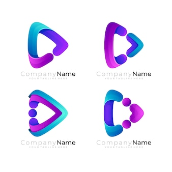 Play logo with 3d colorful design technology, set play