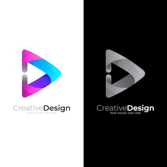 Play logo with 3d.