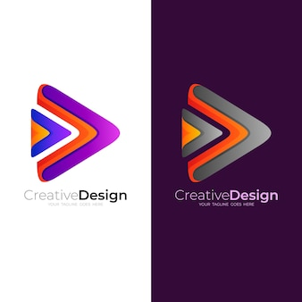 Play logo with colorful design technology