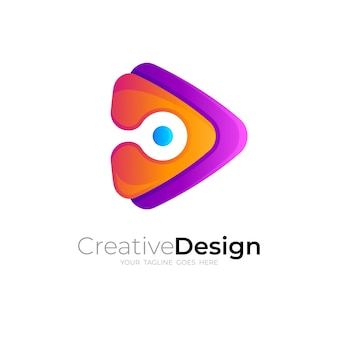 Play logo with design technology