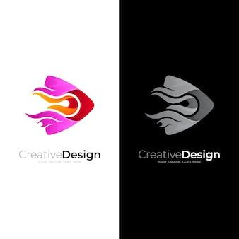 Играть логотип с изображением значка огня, два цветных логотипа