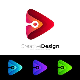 Play logo with technology design, set colorful icons